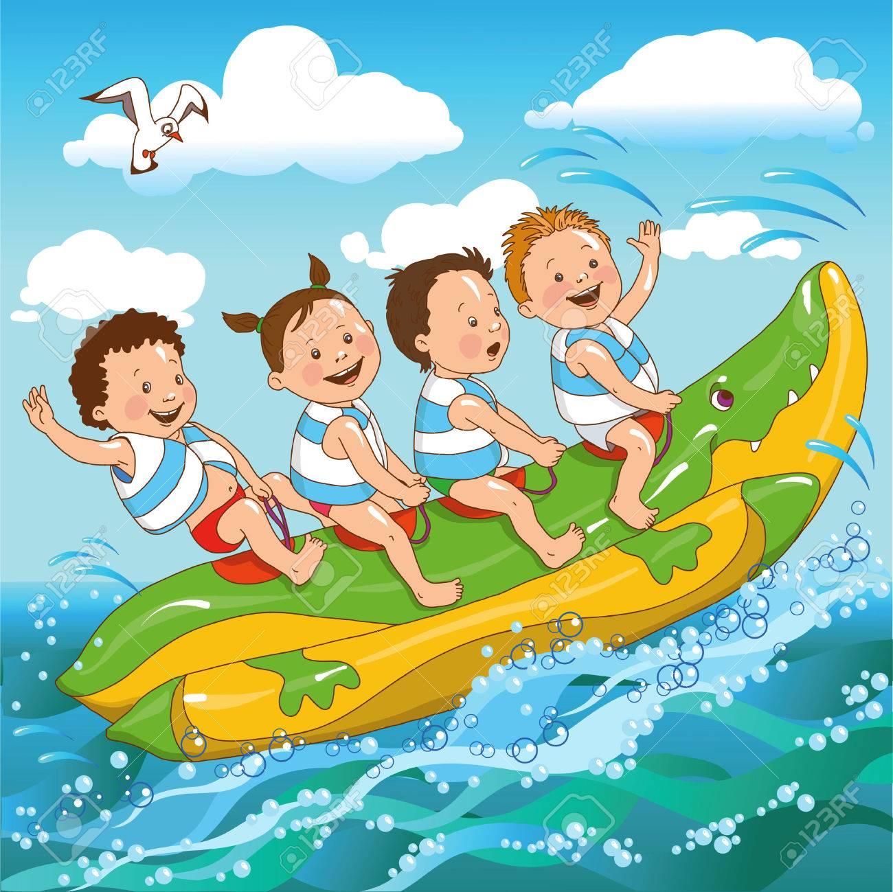 joyful kids ride on a banana boat sea - 46515262