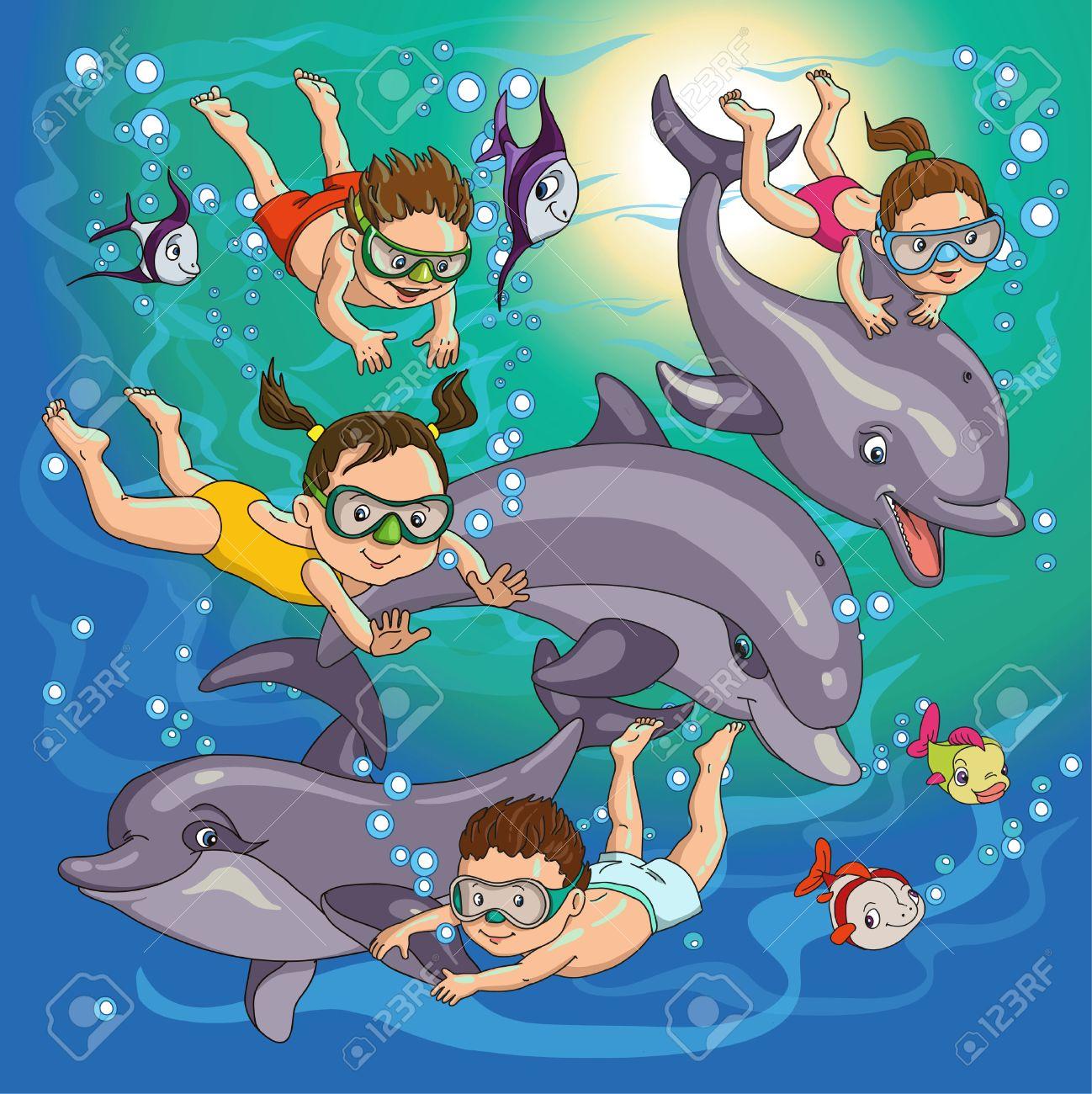 Niños De Dibujos Animados Nadar Con Delfines Y Peces Ilustraciones Vectoriales Clip Art Vectorizado Libre De Derechos Image 46515284
