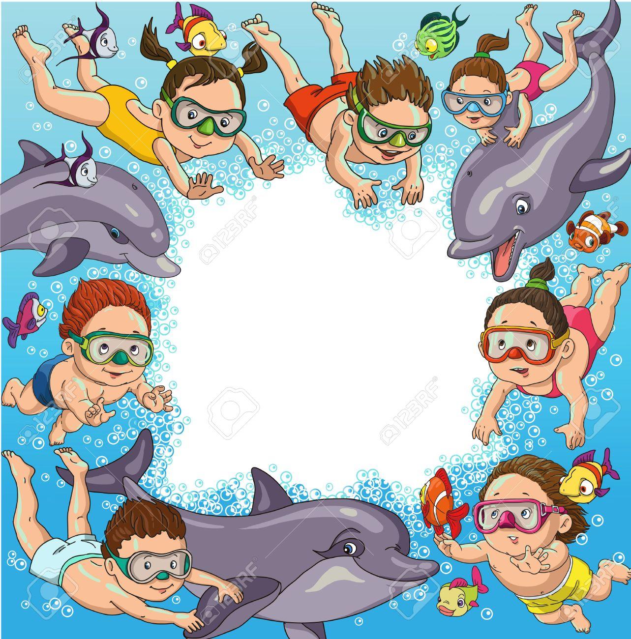 Niños De Dibujos Animados Nadar Con Delfines Y Peces Espacio Para El Texto Ilustraciones Vectoriales Clip Art Vectorizado Libre De Derechos Image 46515285