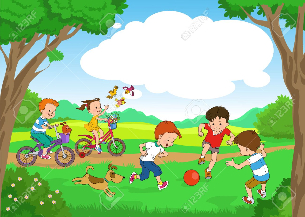 Funny cartoon. Vector illustration. Funny kids ride bikes along the forest summer day. joyful kids play ball on the lawn. Standard-Bild - 46515288