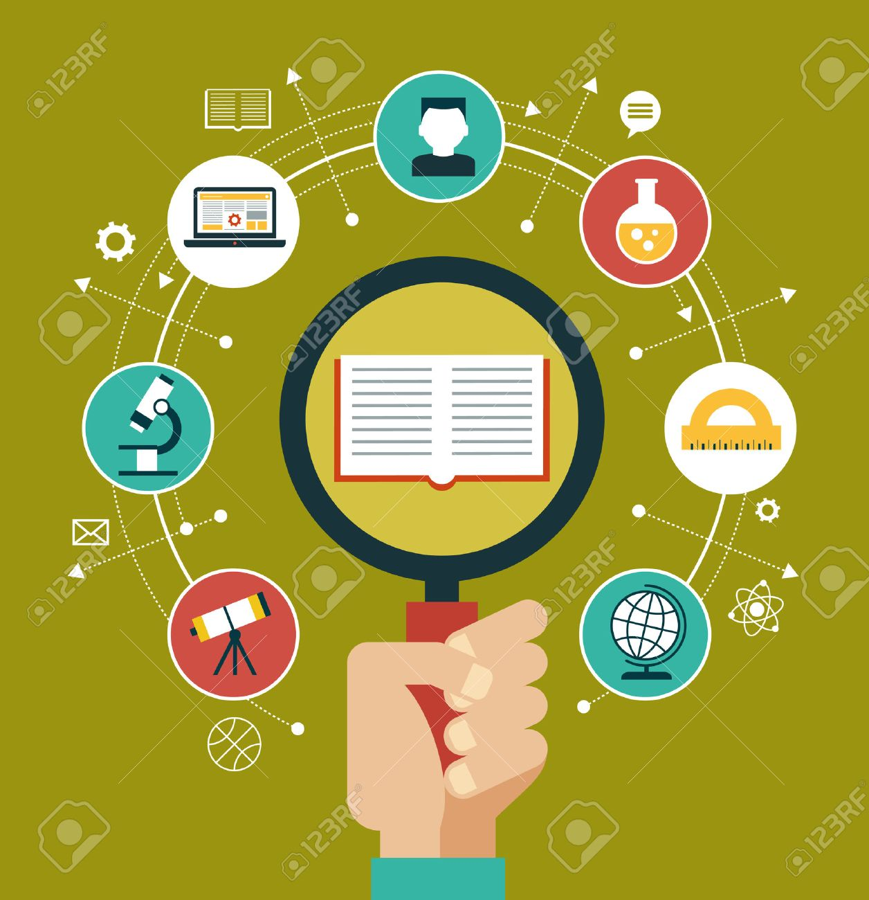 Concept of choice of future profession. Icons education. Book, magnifying glass surrounded by education icons. Standard-Bild - 46515296