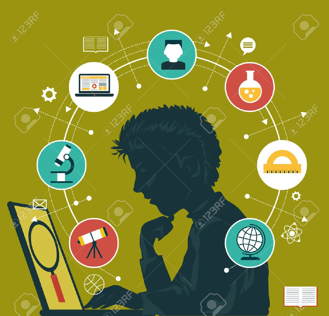 The concept of choosing a future profession. Icons education. Silhouette of a boy with a laptop surrounded by icons of education. - 46515297