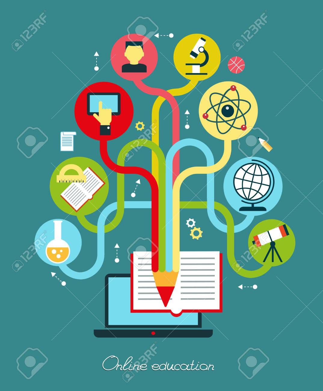 Modern vector illustration concept. Iinfographics background education. Concept of online education. - 46515298