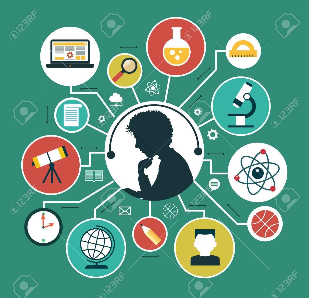 Modern vector illustration concept. Iinfographics background education. Concept of online education. Standard-Bild - 46515299