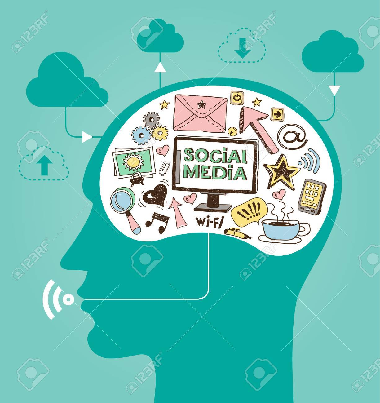 silhouette of a man's head with a hand drawing network icons. Concept of communication in the network - 46515259