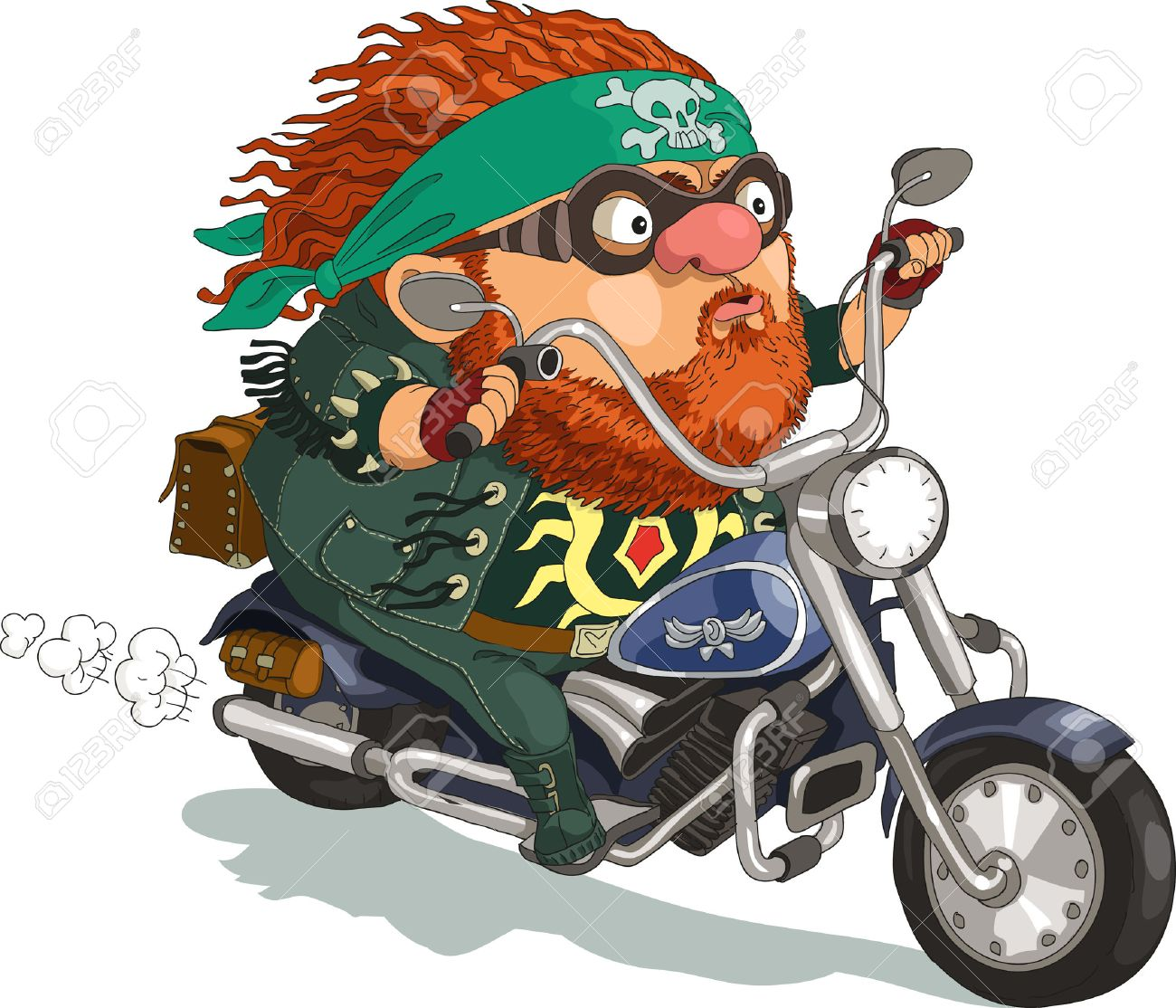 Funny cartoon. Vector illustration. ool bearded biker rides a motorcycle. Isolated objects. - 46515301