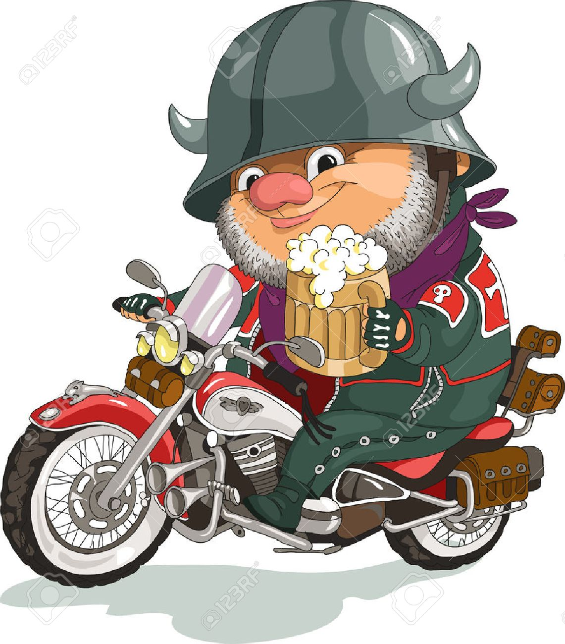 Funny cartoon. Vector illustration. Cool biker sitting on the motorcycle with a beer. Isolated objects. Standard-Bild - 46515302