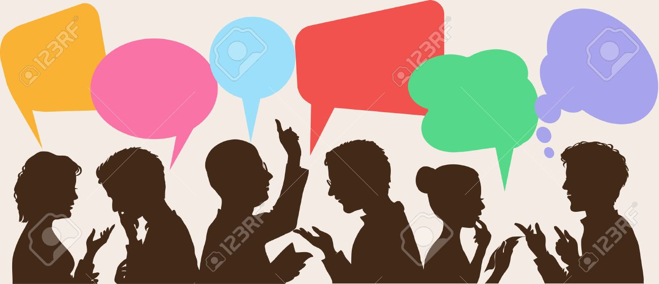 silhouettes of people leading dialogues with colorful speech bubbles Standard-Bild - 46515306