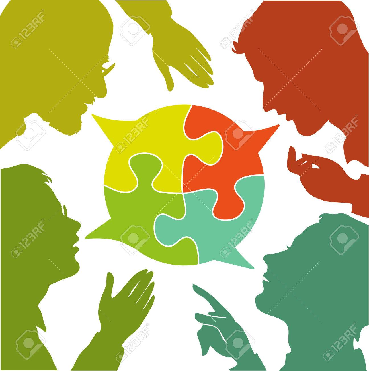silhouettes of people leading dialogues with colorful speech bubbles. Speech bubbles in the form of puzzles. Dialogue and consensus. - 46515309