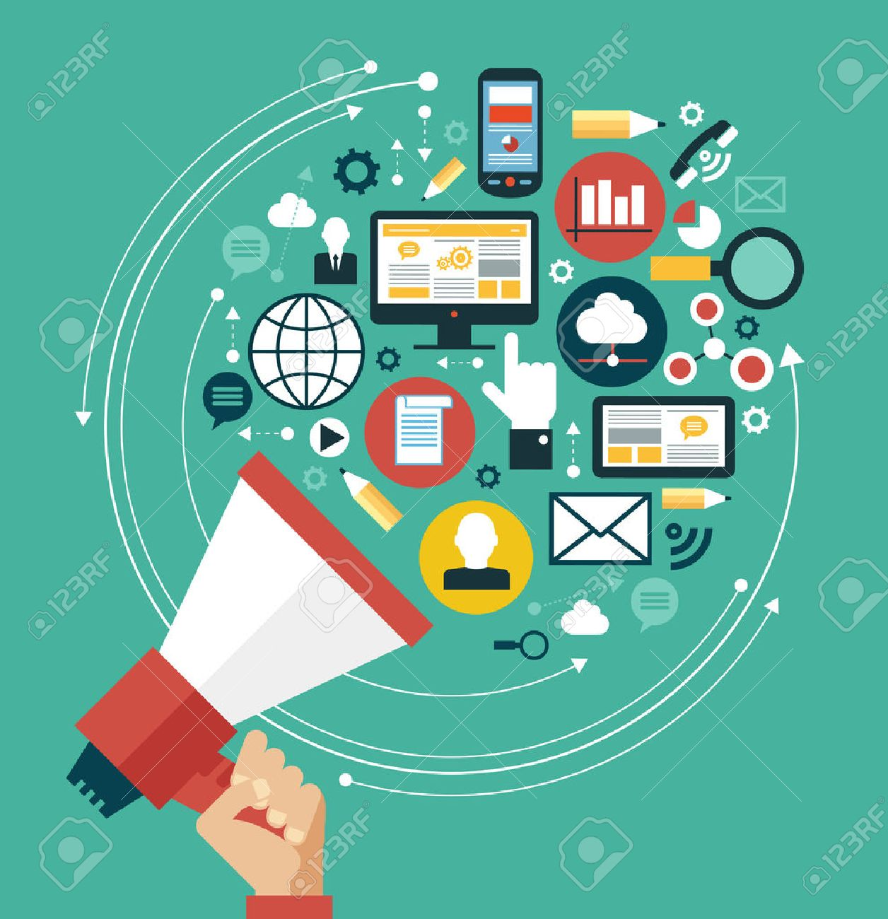 Digital marketing concept. Human hand with a megaphone surrounded by media icons - 46515311