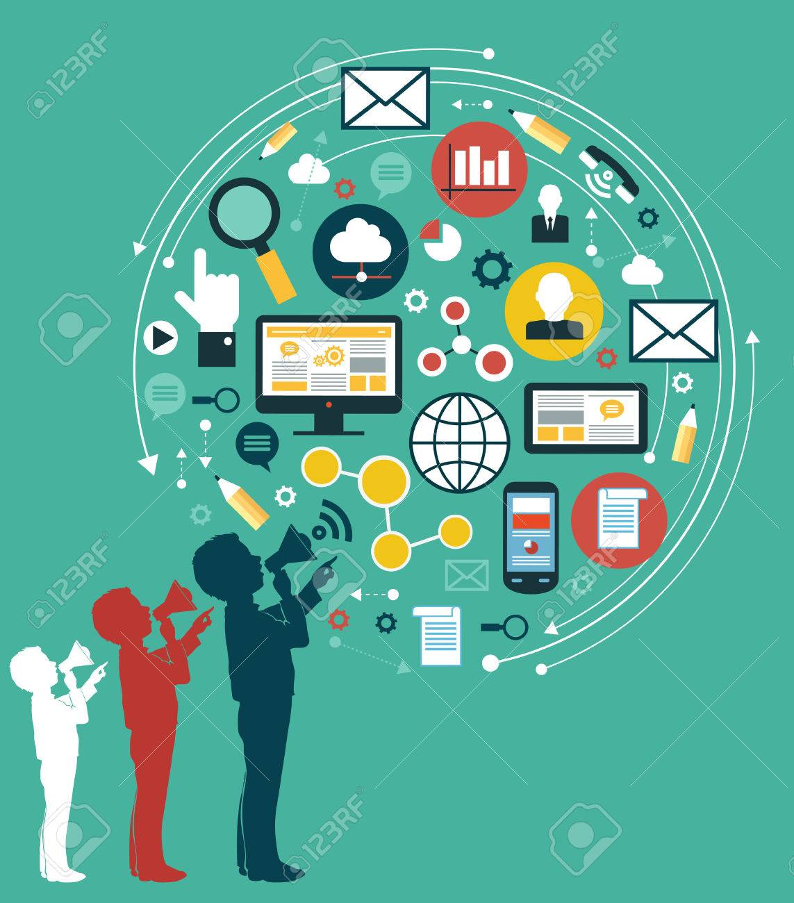 Digital marketing concept. Human hand with a megaphone surrounded by media icons Standard-Bild - 46515312