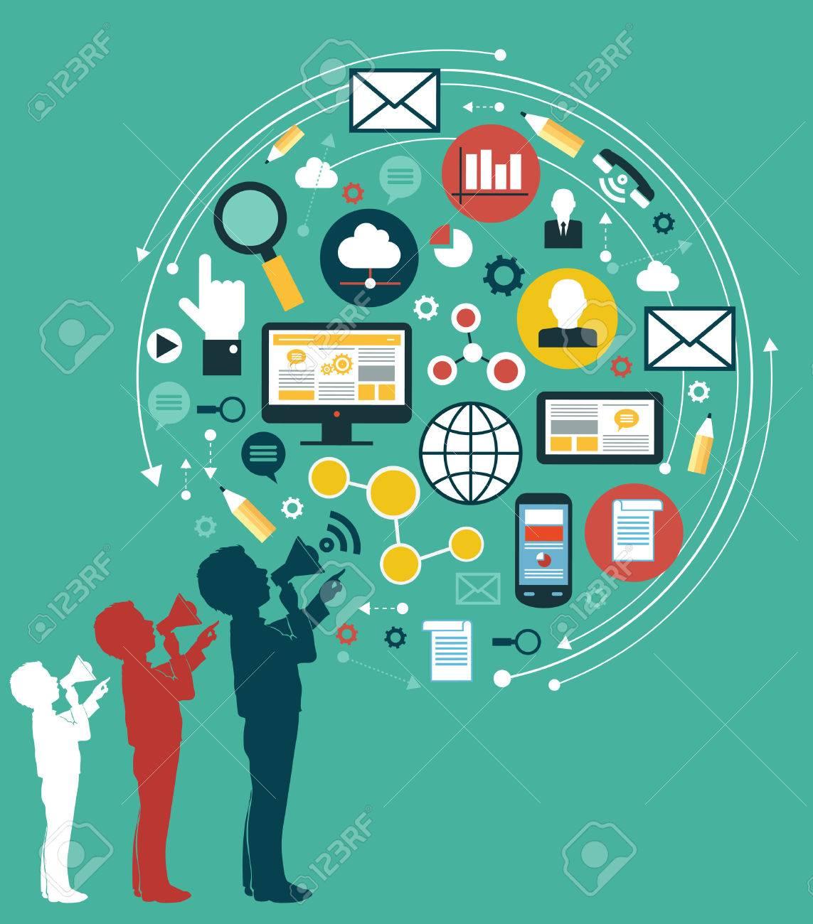 Digitale Marketing-Konzept. Menschliche Hand, die mit einem Megaphon durch media icons umgeben Standard-Bild - 46515312
