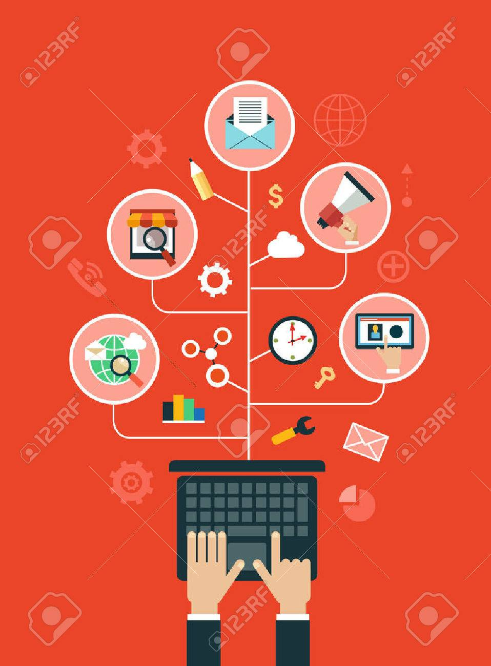Digital marketing concept. Human hand with a megaphone surrounded by media icons. - 46515315