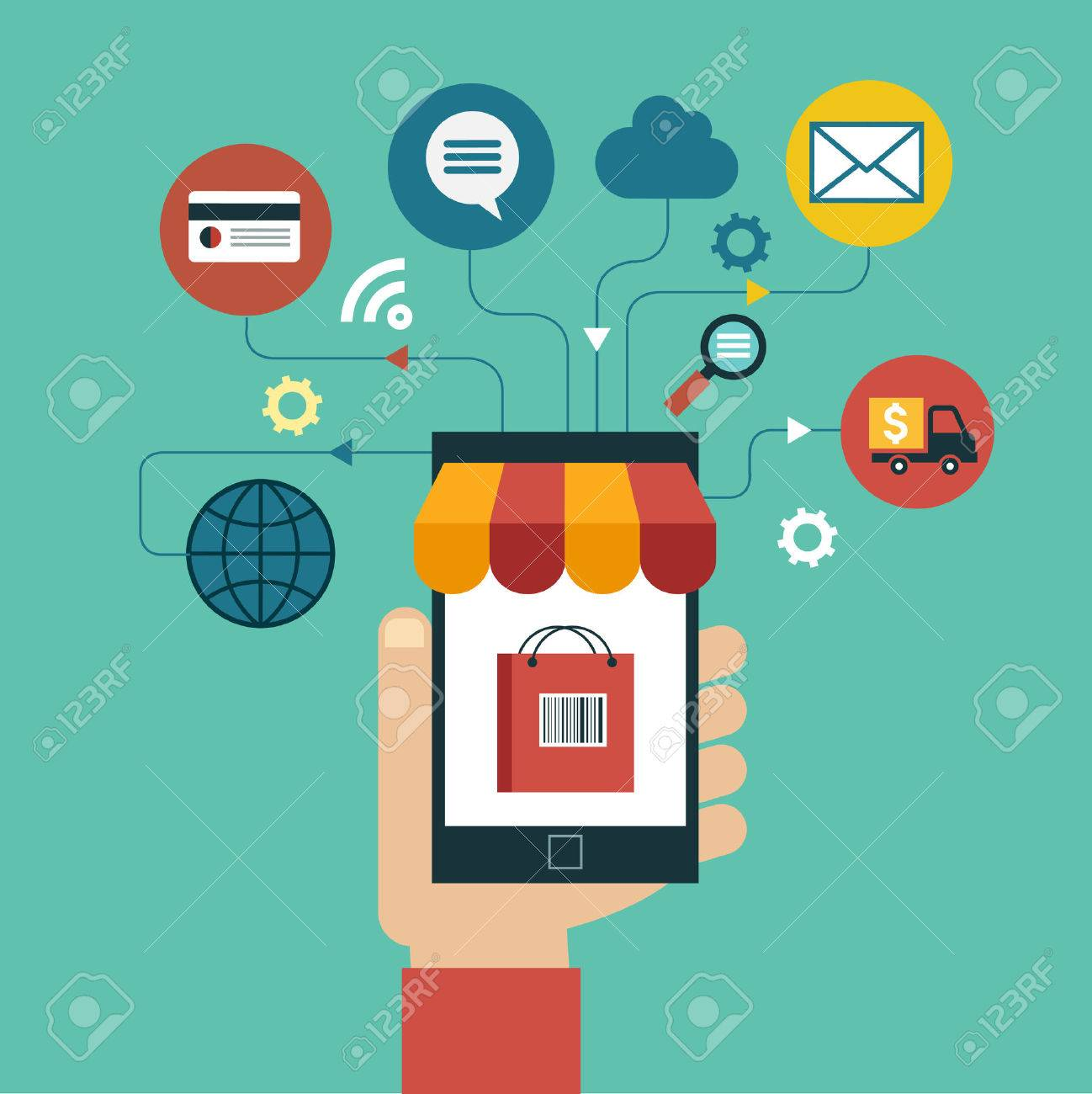 e commerce concept. Flat design vector illustration. Human hand with mobile phone, tablet, laptop and interface icons Standard-Bild - 46515332