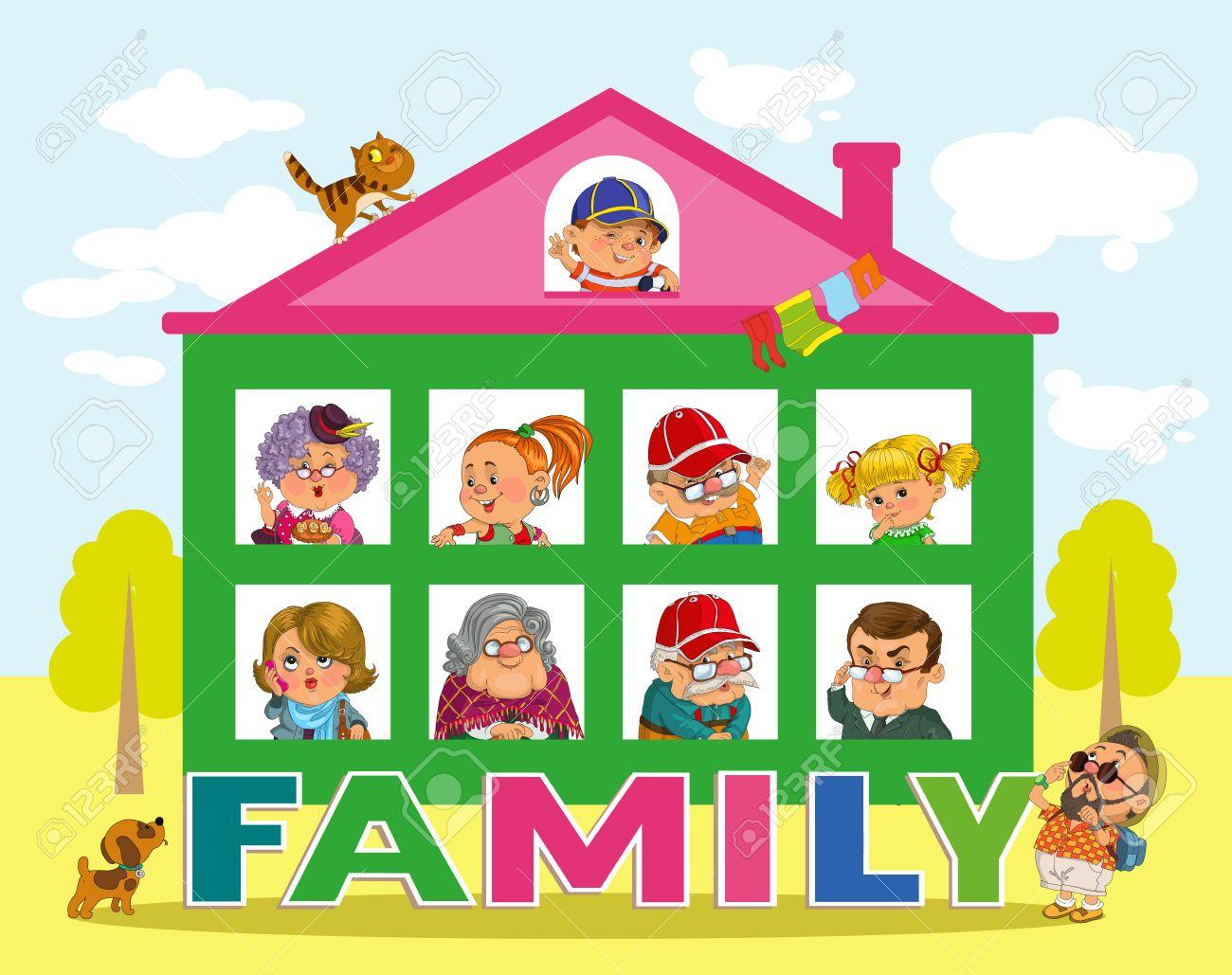 Lustige Karikatur Vector Illustrationhouse Und Das Wort Familie