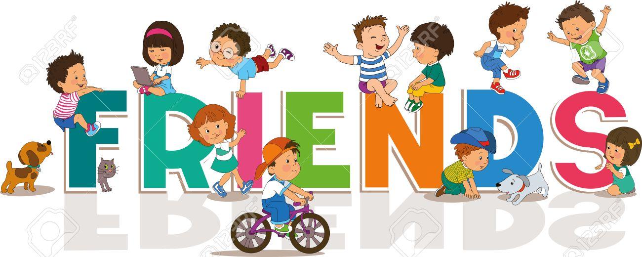 Amitié Dessin heureux, dessin animé fond journée de l'amitié avec les petits
