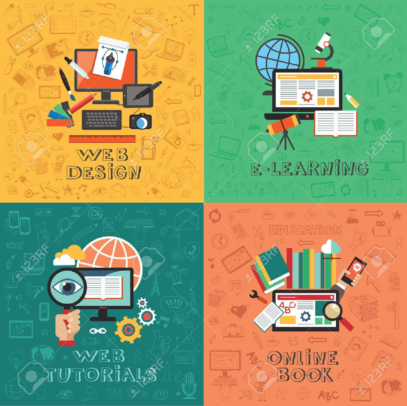 Flat vector concept education infographics. Web design. E-learning. Web tutorials. Online Book. - 46725613