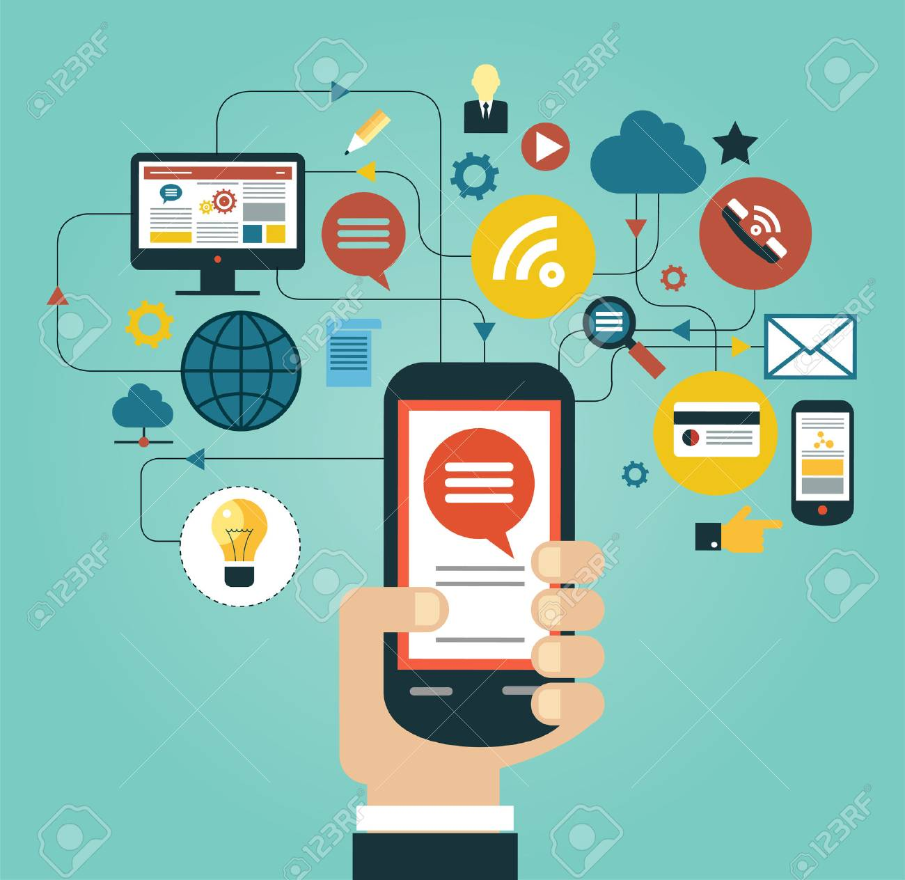 Hand of the person with the phone surrounded by icons. Concept of communication in the network Standard-Bild - 46874147