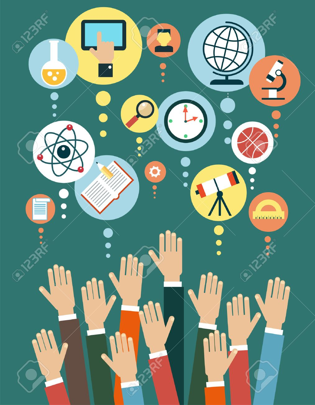 Modern vector illustration concept. Iinfographics background education. Human hand and icons of education. - 46874156