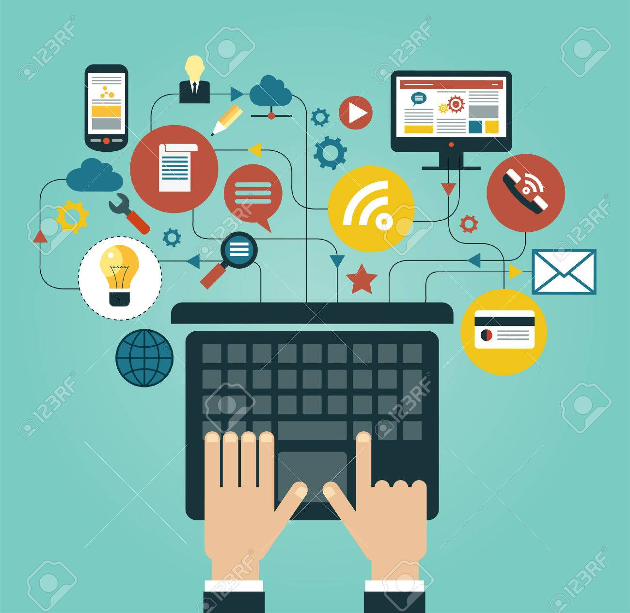 Communication human hand with a laptop surrounded by icons concept of communication in the