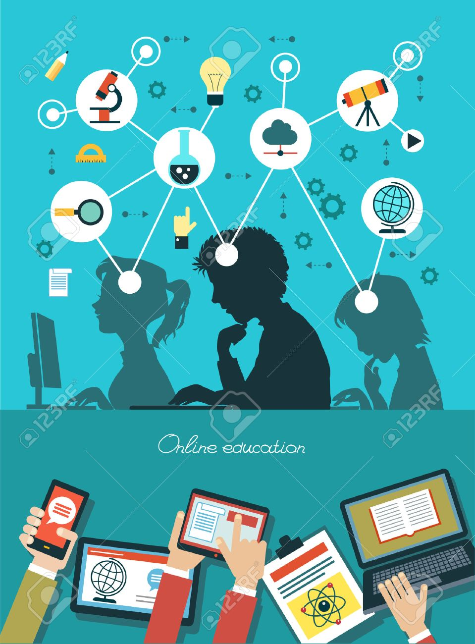 Icons education. Silhouette of students surrounded by icons of education. Concept online education. Human hand with a mobile phone, tablet, laptop and interface icons. Standard-Bild - 46874169