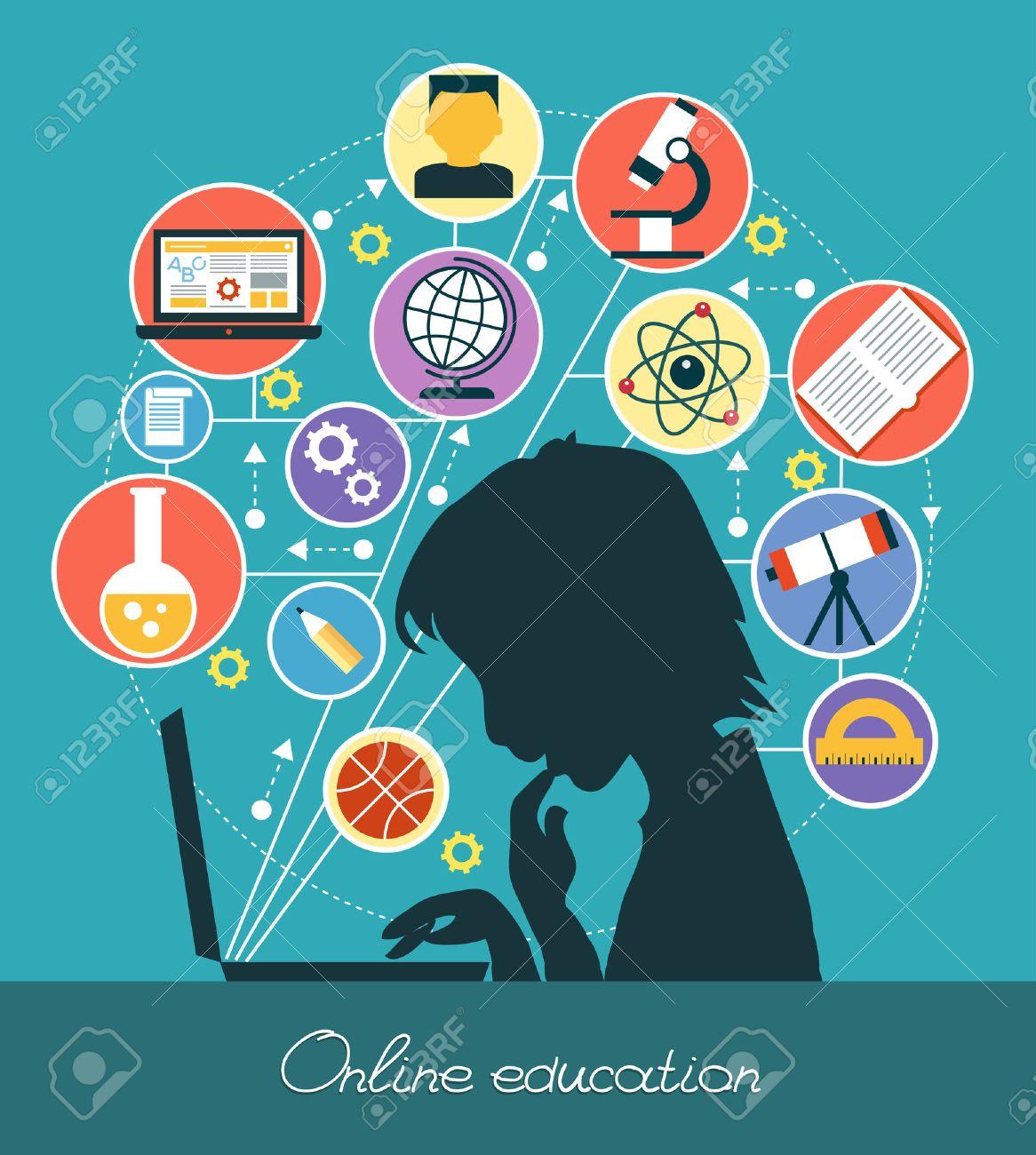 Icons Bildung. Silhouette eines Jungen von Icons von Bildung umgeben. Konzept der Online-Bildung. Standard-Bild - 47623944