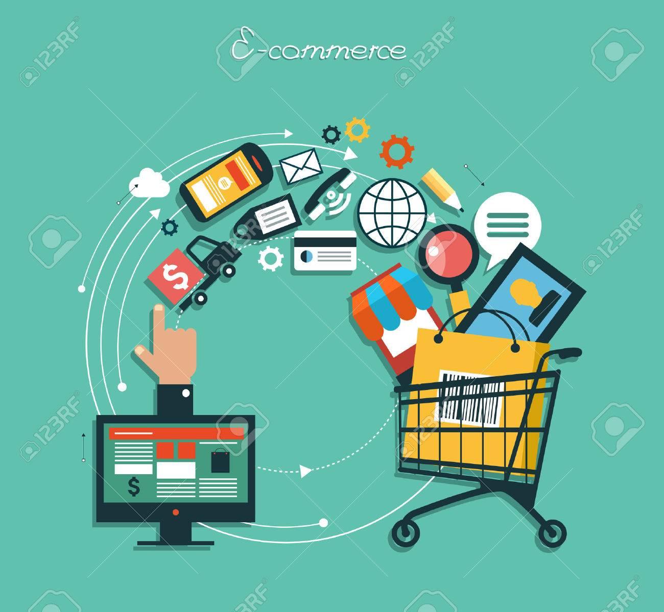 Infografik Hintergrund E-Commerce. Business-Konzept. Stellen Sie Ikonen Standard-Bild - 47628645
