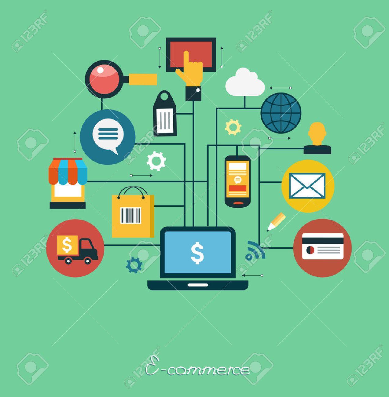 infographics background E-commerce. Business concept. Set icons - 48769161