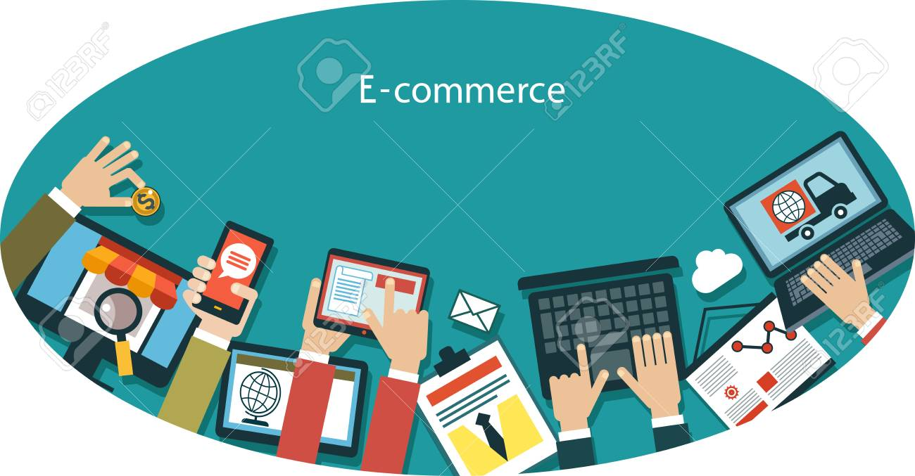 infographics background E-commerce. Human hand with a mobile phone, tablet, laptop and interface icons in an oval. Business concept. - 48769177