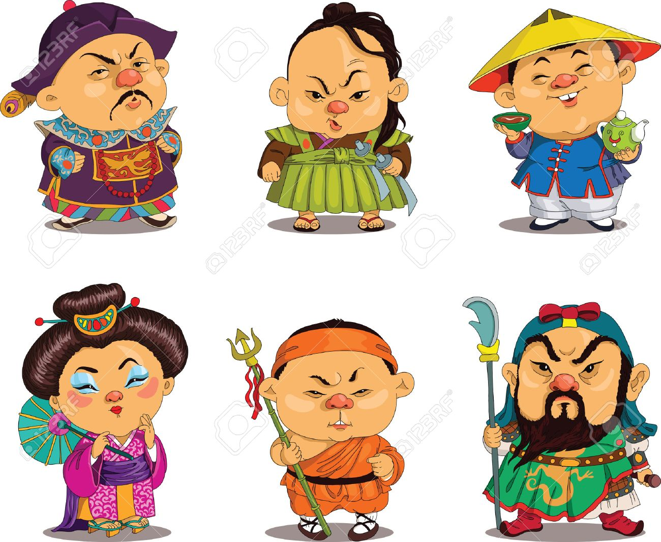 Cartoon. Vector. Funny Chinese people in national costumes, travesty cartoon. Characters. Chinese set. Isolated objects. - 48770600