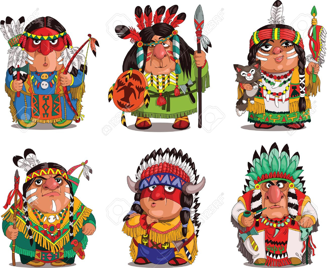 Cartoon Indians. Funny, travesty cartoon. Characters. Indians set. Isolated objects. Standard-Bild - 48770625