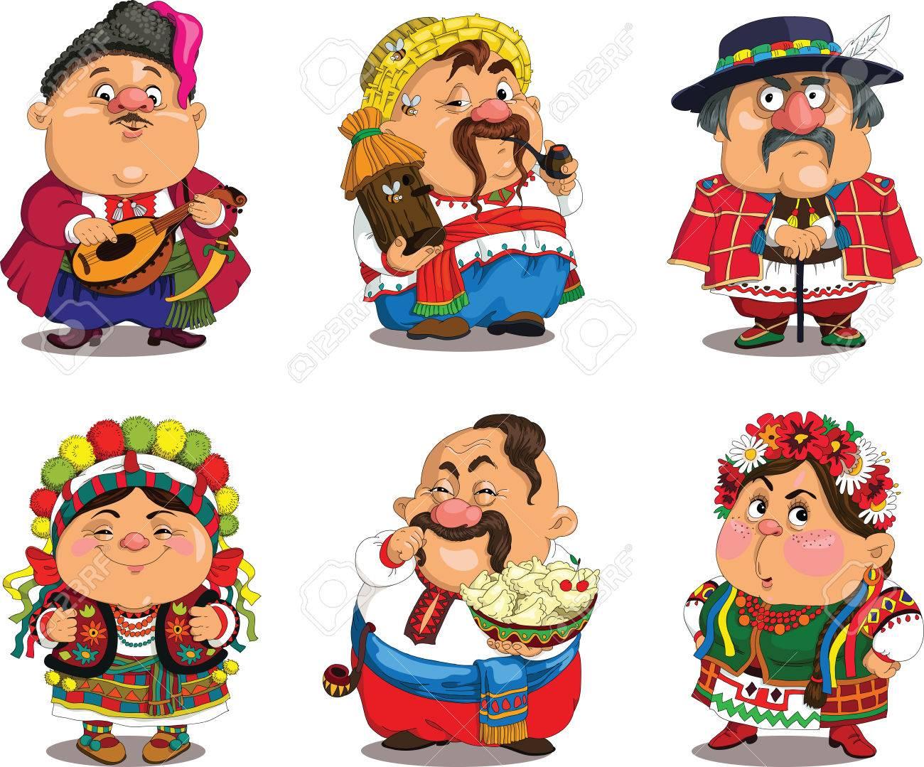 Cartoon Ukrainians. Funny, travesty cartoon. Characters. Ukrainians set. Isolated objects. - 48771069
