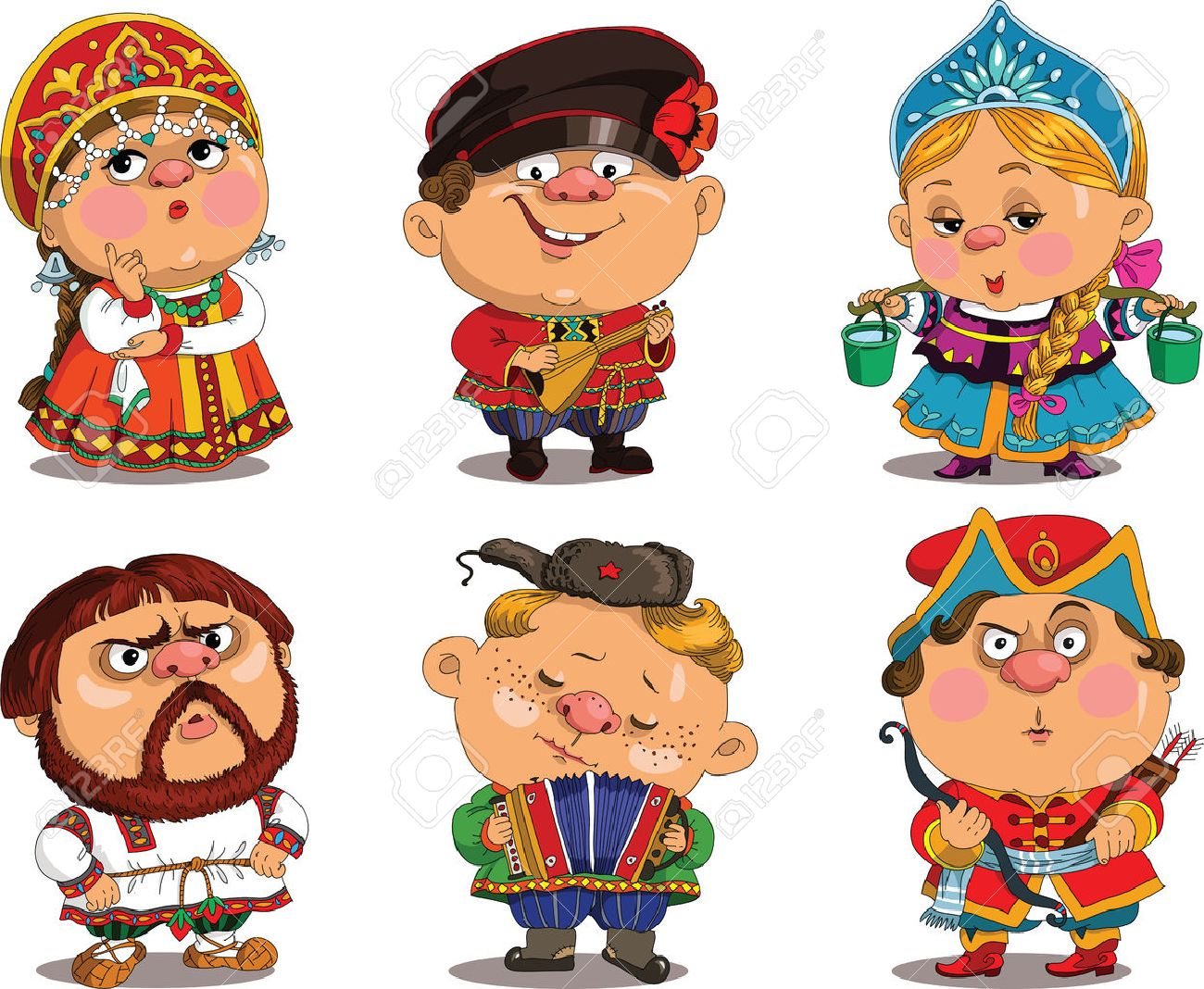 Cartoon. Vector. Funny in Russian folk costumes. Travesty cartoon. Characters.   Russian set. Isolated objects. Standard-Bild - 48771072