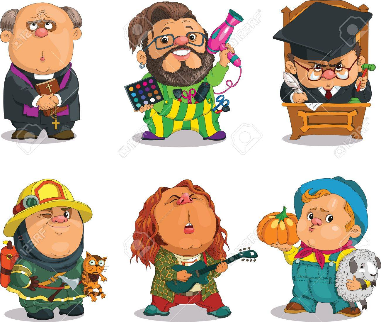 Funny cartoon. Positive characters. Vector illustration professions set. Parson, Stylist, Justice,Firefighter, Musician, Farmer. - 48795002