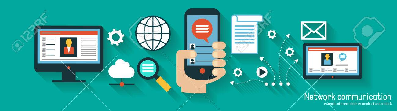 Infographics background network communication. Concept Internet comunications. Set icons - 48795081