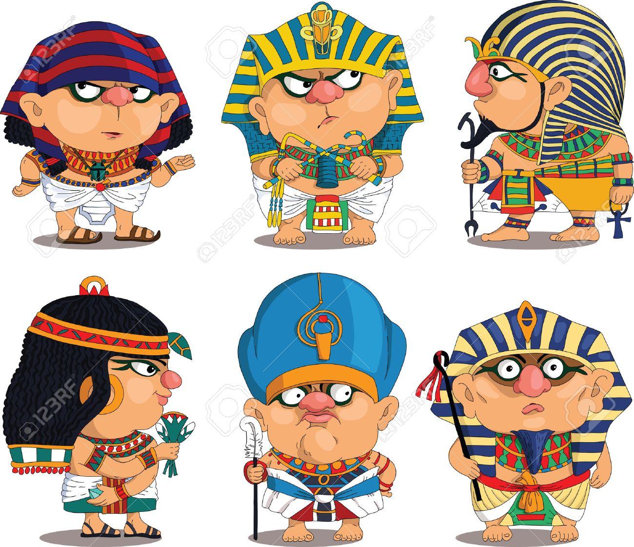Cartoon. Vector. Set Funny Egyptian Pharaohs. Travesty cartoon. Characters. Isolated objects. - 51353449