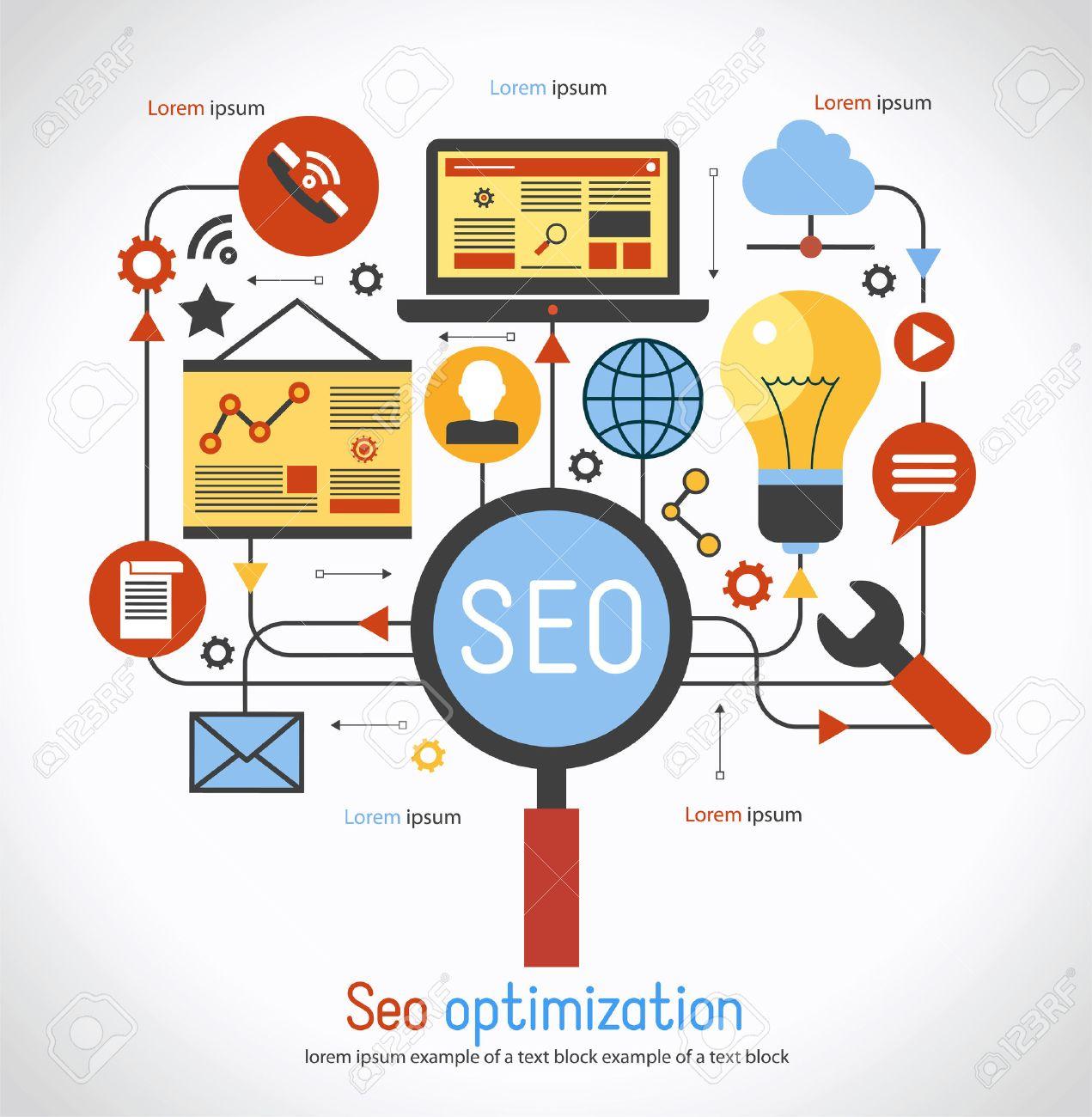 infographics background seo optimization. SEO concept. Set icons - 51392602