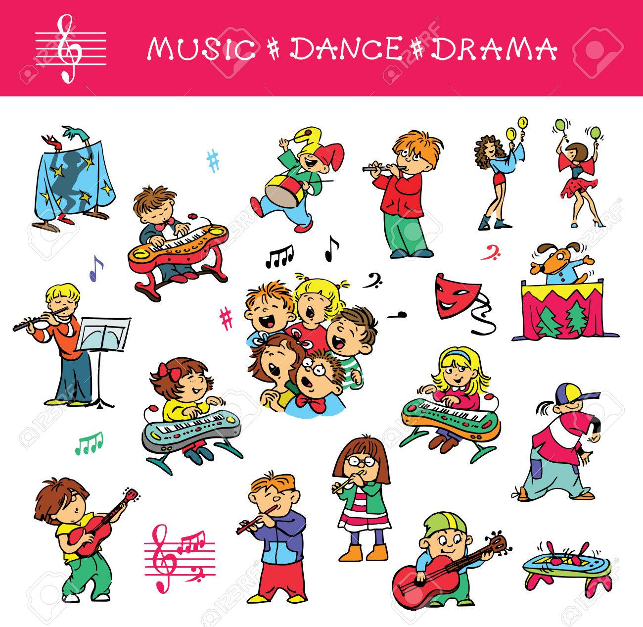 Hand drawn. Vector illustration. A set of drawings of children engaged in music, singing and acting skills. Isolated objects. - 52213591