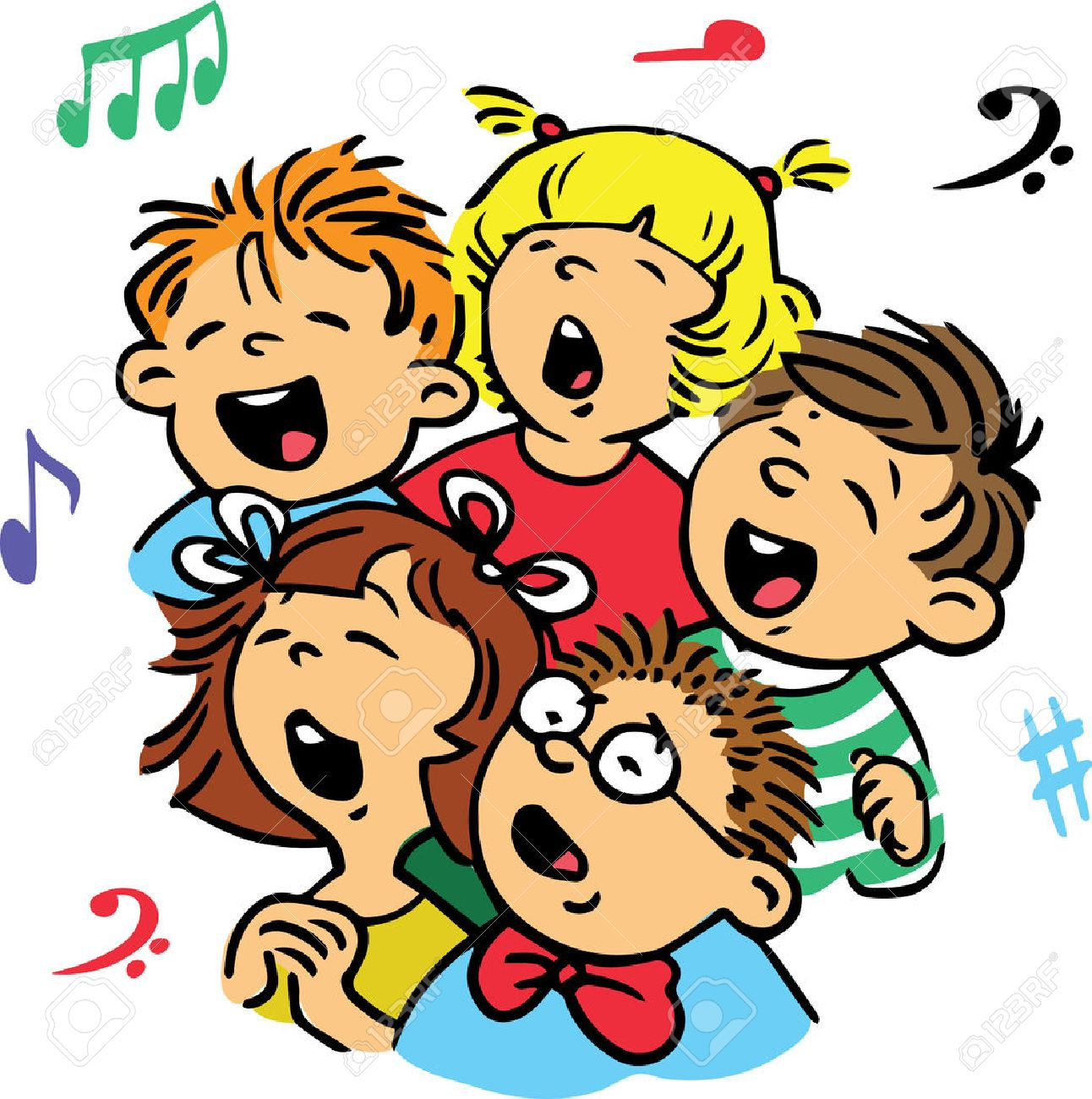 Hand drawn. Vector illustration. Group of children singing in unison a song. - 52214486
