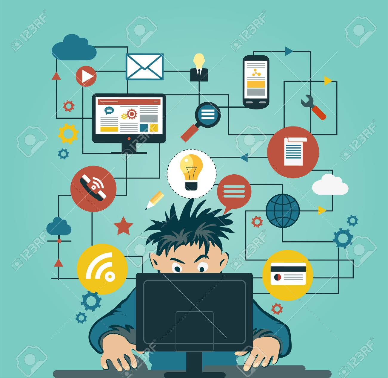 A man at the home computers surrounded by icons. Concept of communication in the network - 56750387