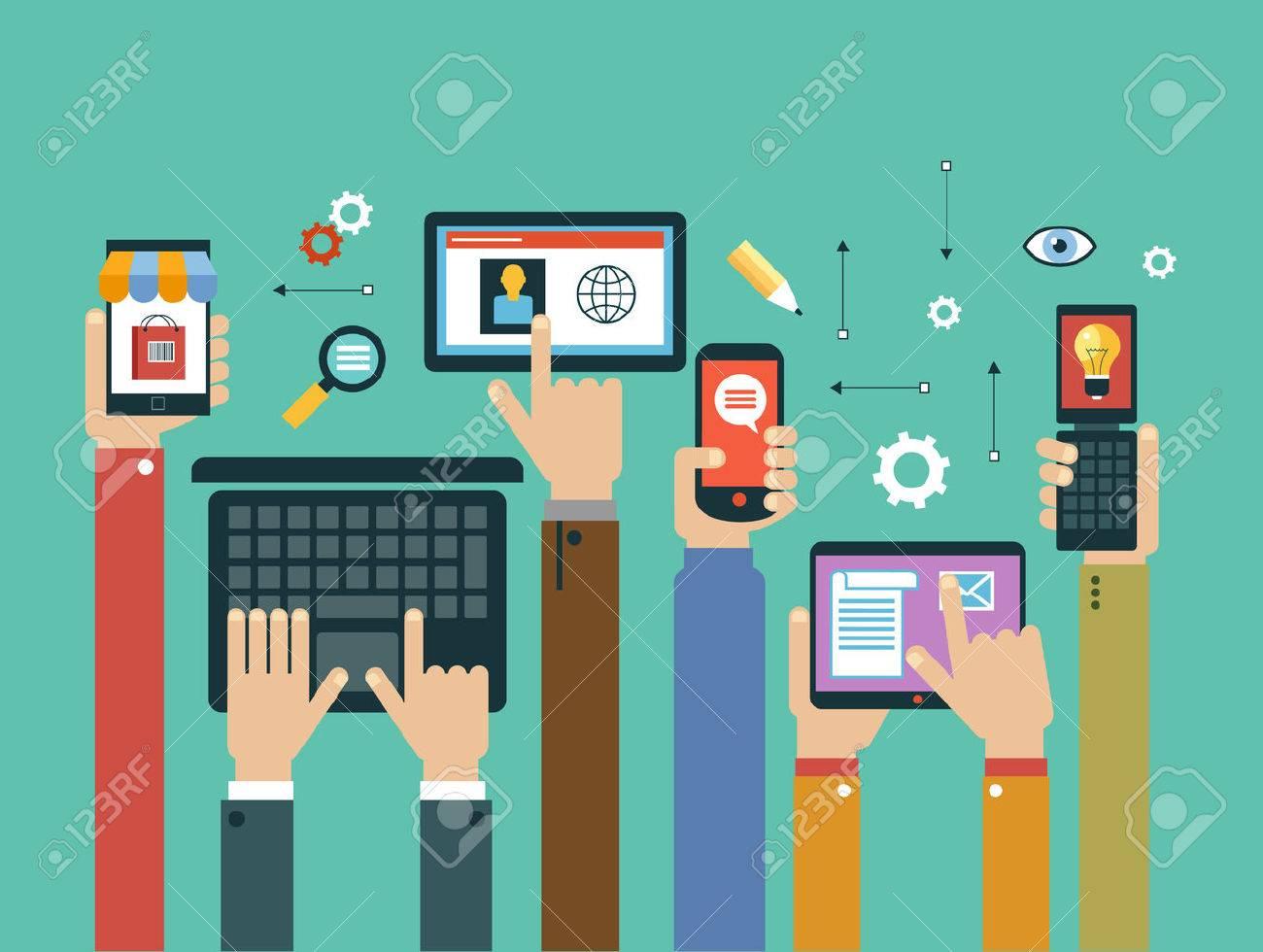 Mobile Apps Konzept. Mobile Anwendungen Konzept. Flaches Design Vektor-Illustration. Menschliche Hand mit Handy, Tablet, Laptop und Interface-Icons Standard-Bild - 59138544
