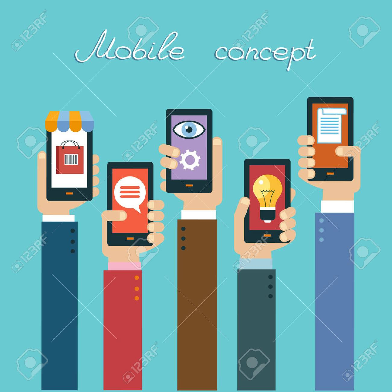 Mobile apps concept. Flat design vector illustration. Human hand with mobile phone and interface icons - 59138547