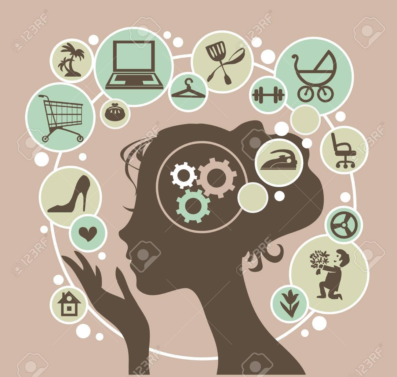 Kopf einer jungen modernen Frau und ihre Gedanken. Standard-Bild - 57674970