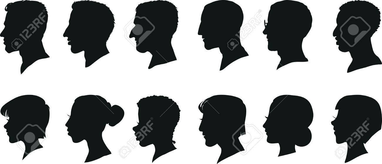 Portraits of men and women in profile, isolated silhouettes. Set of vector illustrations. - 57674951
