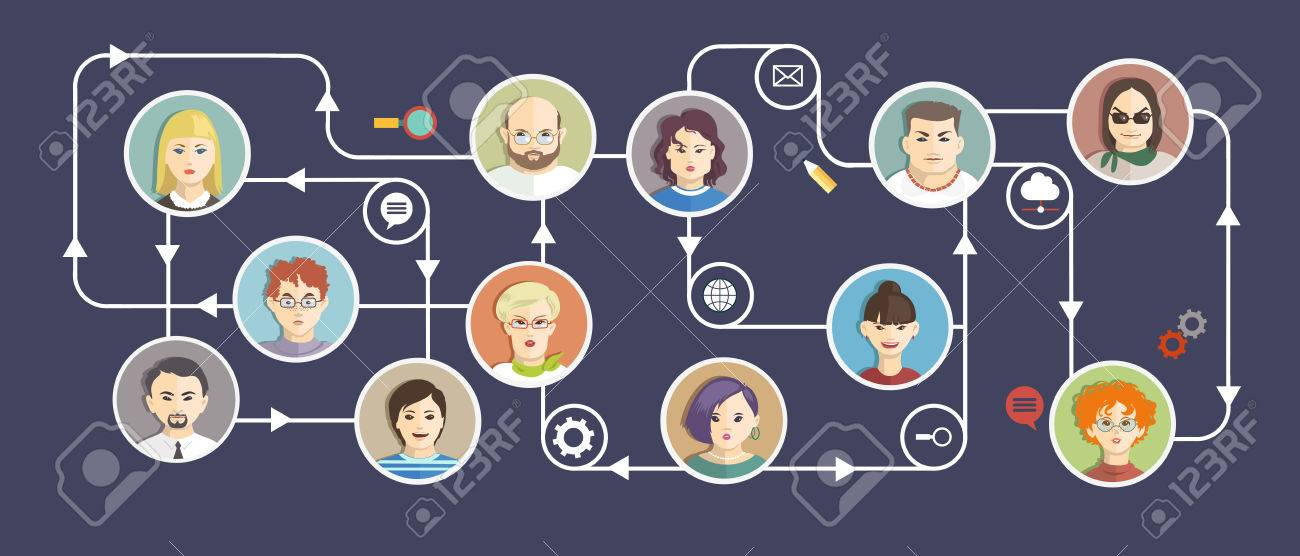 Social Media Circles, Network Illustration, Vector, Icons and avatars - 59138573