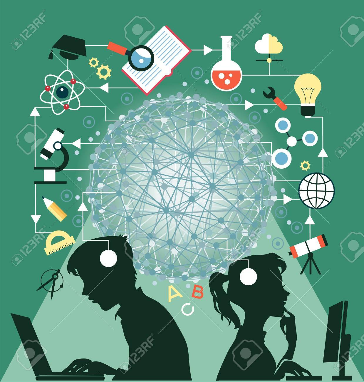 The concept of education. Icons education. Online education, Silhouettes of boy and girl involved in the computers in an environment of education icons. - 63265846