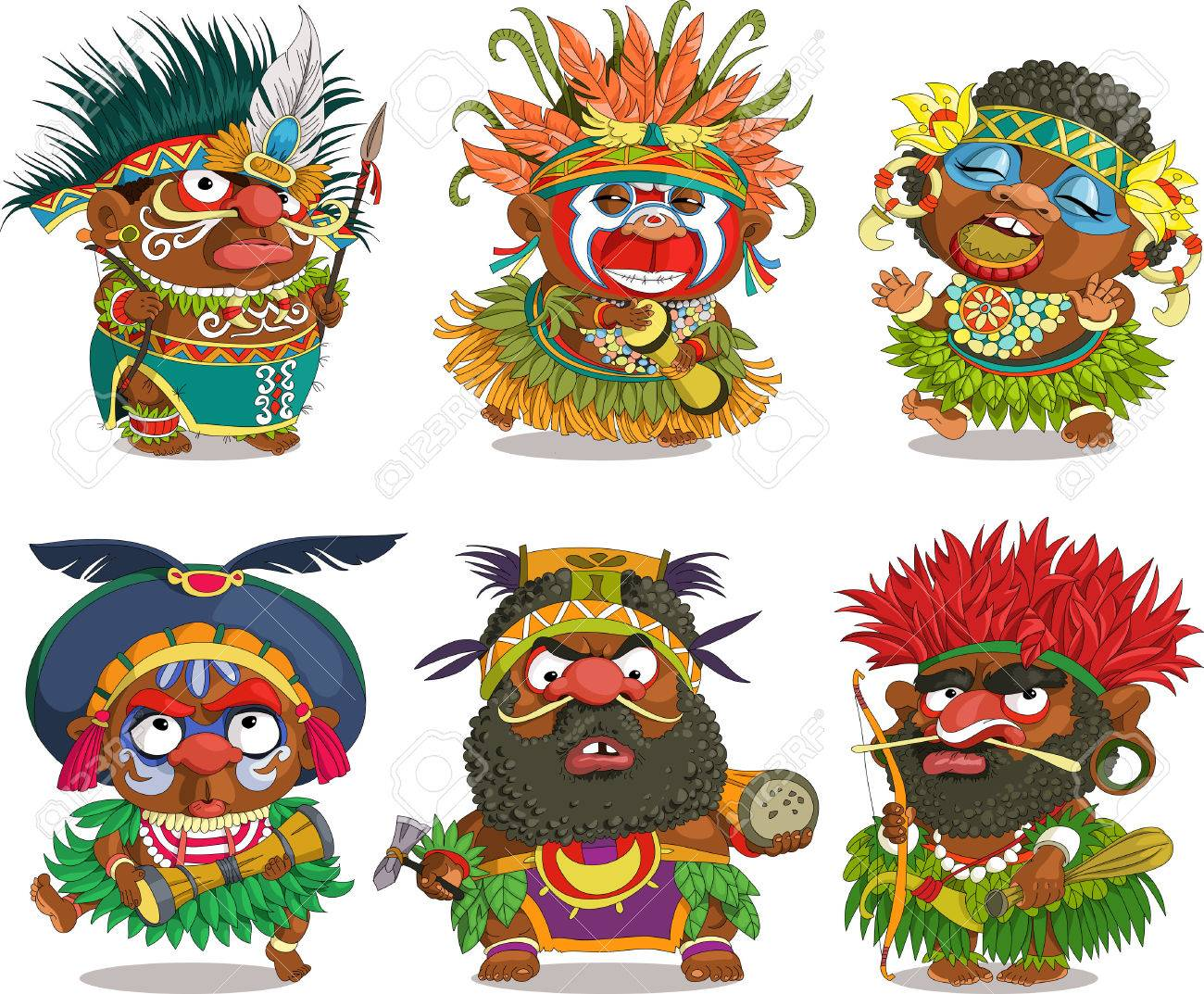 The comic caricature. Funny African Papuan. Cartoon. Vector. Travesty cartoon. Characters. Isolated objects. - 68997161