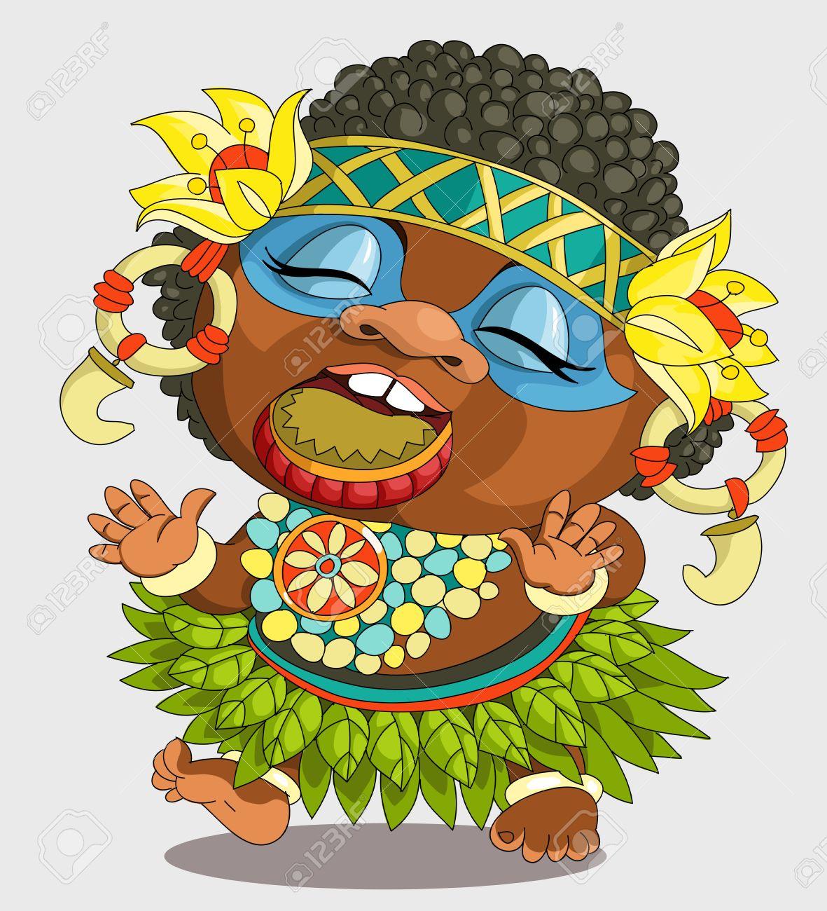 La Caricature Comique Papoue Africaine Drole Dessin Anime Vecteur Bande Dessinee Travesty Personnages Objets Isoles Clip Art Libres De Droits Vecteurs Et Illustration Image 68630378