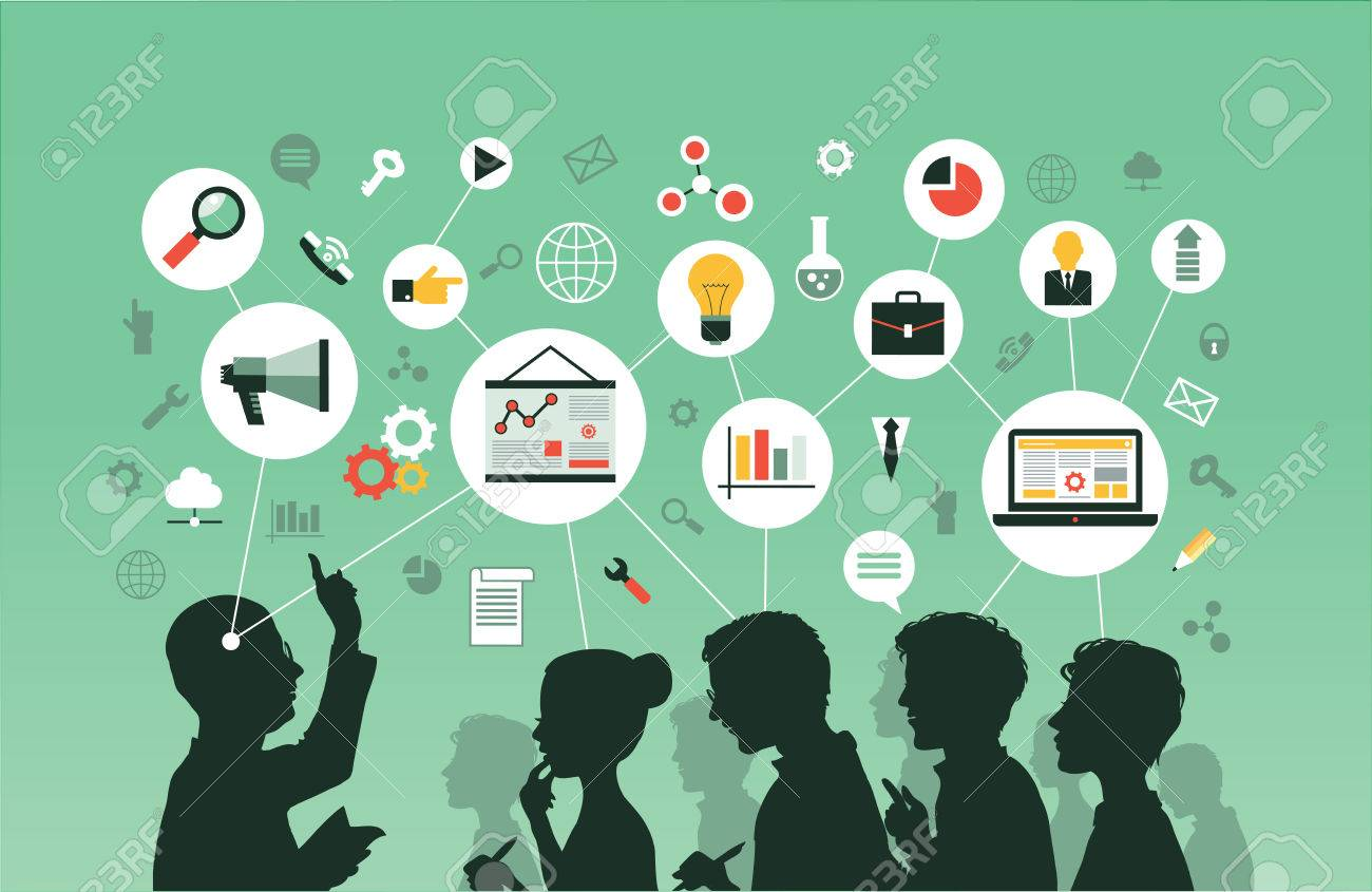Silhouette of a group of people listening to a lecture. Mind Map -Vector Illustration. - 70761974