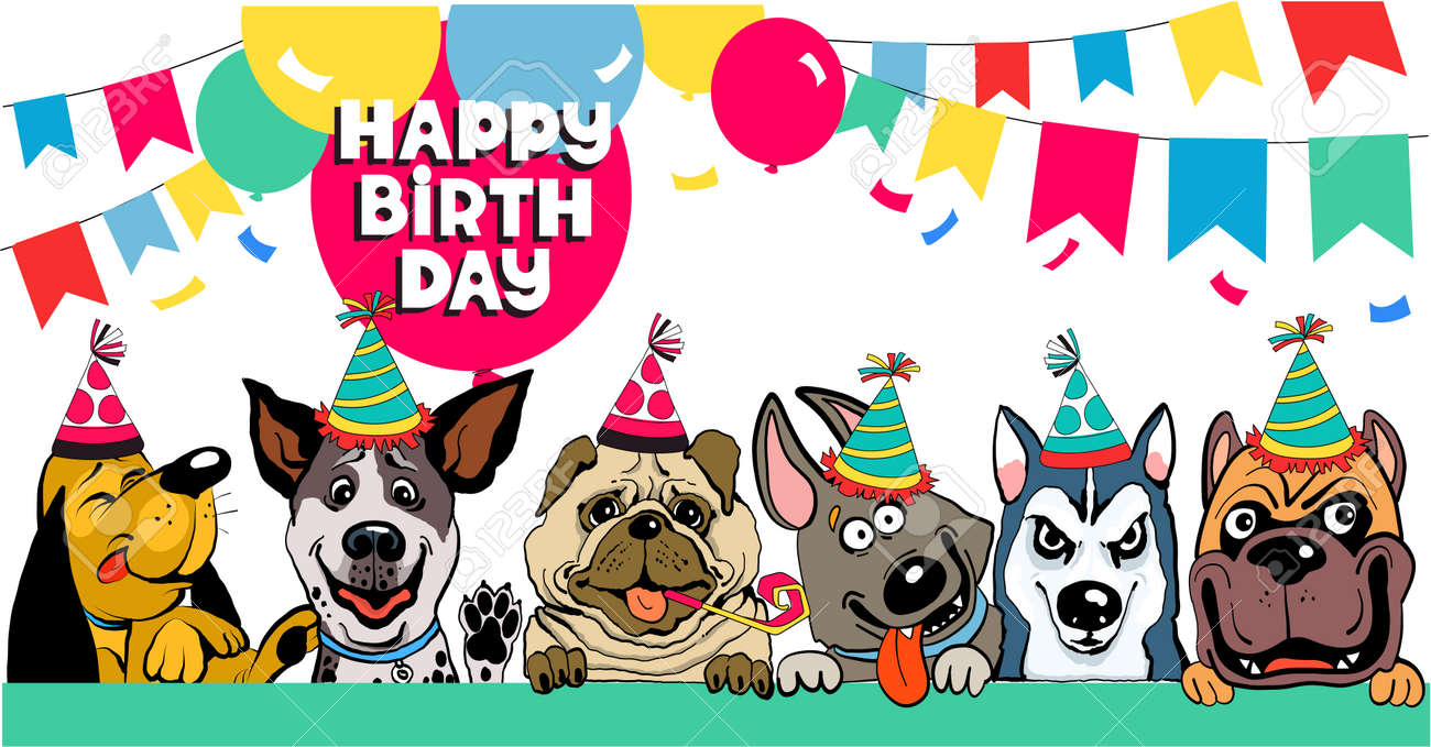 Friends colorful vector illustration. Funny funny dogs congratulate happy birthday surrounded by balloons and flags - 162477852